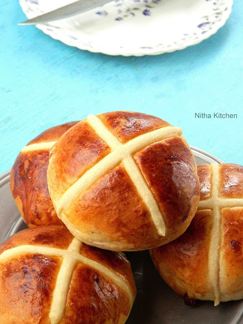 Hot Cross Buns | Cherry or Dry Fruits Mixed Soft Buns