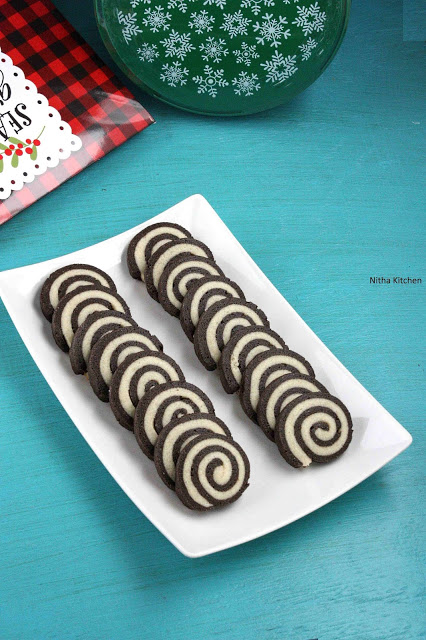 An Eggless Easy Pinwheel Cookies | Merry Christmas