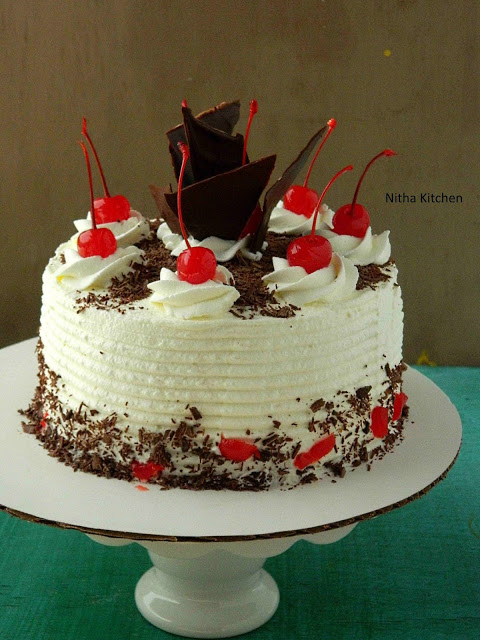 Eggless Black Forest Cake with Hot Chocolate Sponge