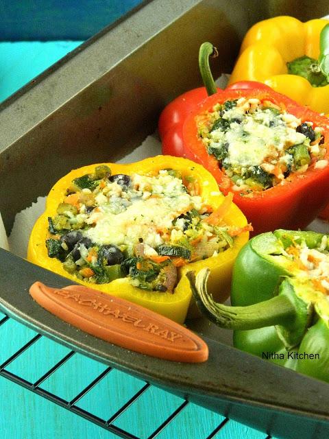 Stuffed Bell Pepper Veg Bowl | Healthy Capsicum Rice Bowl | One Pot Meal