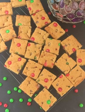 M&M Chocolate Chip Blondie Cookie Bars , An Eggless Recipe From Scratch