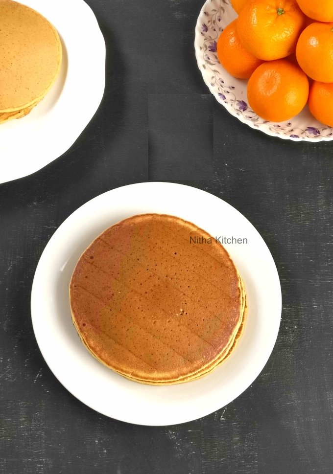 eggless vanilla buttermilk pancake recipe and orange wheat buttermilk pancake recipe with video tutorial