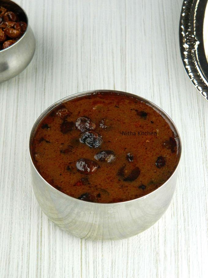 Traditional South Indian Sundakkai Vathal Kuzhambu without