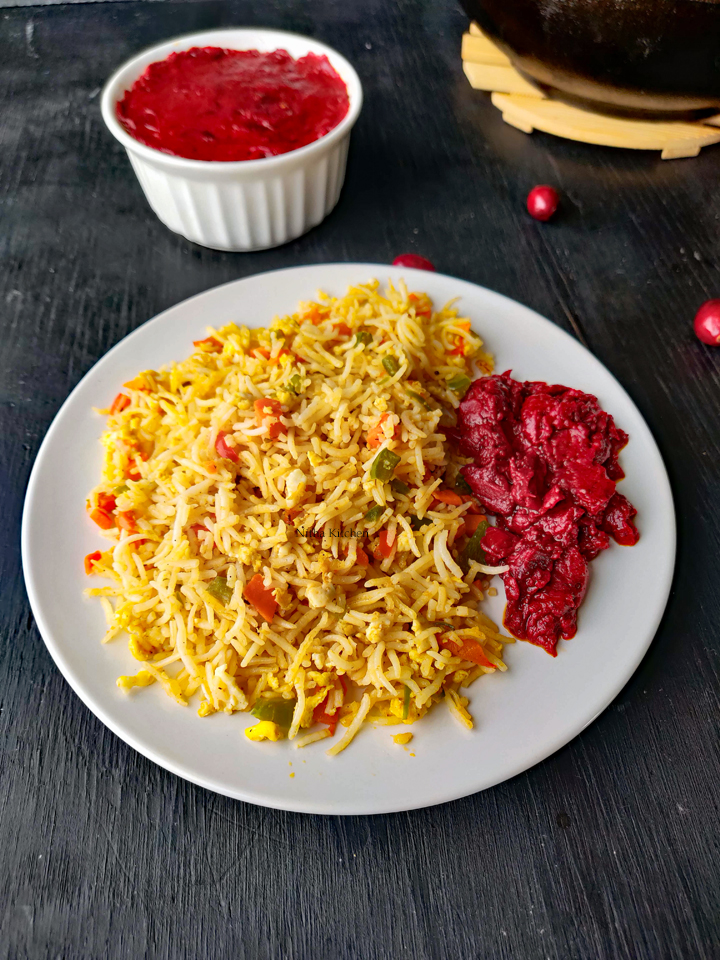 Vegetable fried Rice with Cranberry Pickle