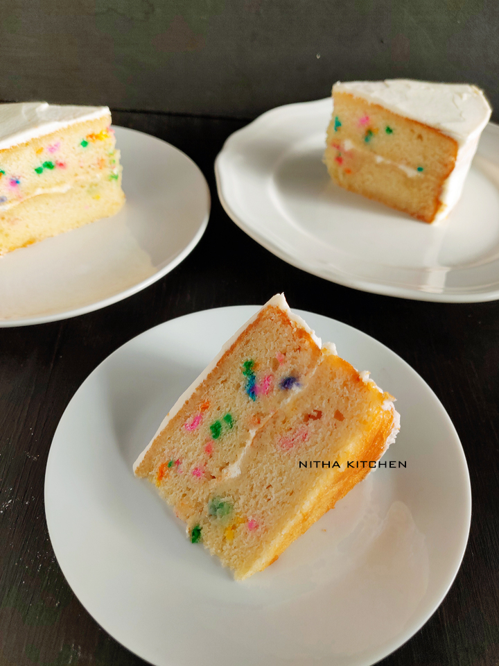 Eggless Sponge Cake using confetti Recipe