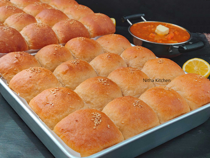 Eggless 100% Whole Wheat Ladi Pav Dinner Rolls video recipe