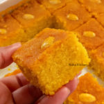 Eggless Turmeric Semolina Cake Sfouf Video Recipe