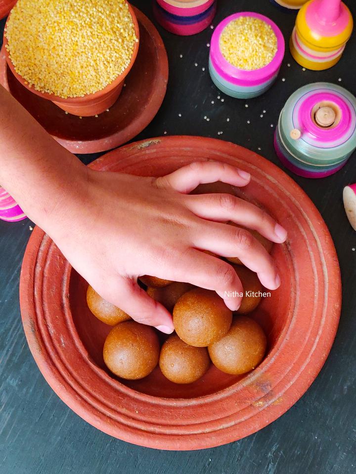 Thinai Badam Karupatti Urundai | Foxtail Millet Jaggery Ladoo Video Recipe