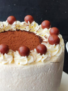Eggless Tiramisu Sponge Cake with homemade mascarpone cheese