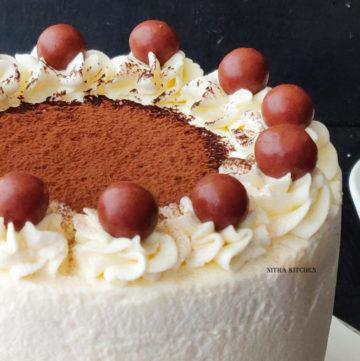 Eggless Tiramisu Sponge Cake with homemade mascarpone cheese