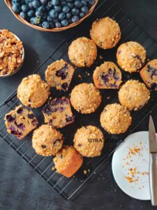 Whole Wheat Blueberry Oats Muffins with eggless option