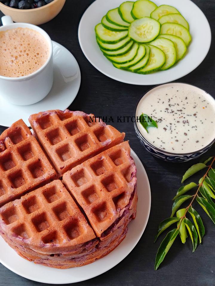 Eggless Blueberry Savory Waffles Video Recipe