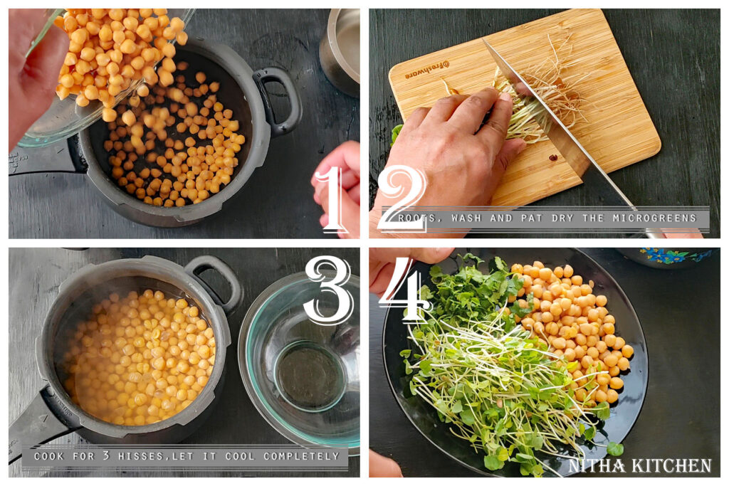 step by step microgreen based vegetable salad recipe