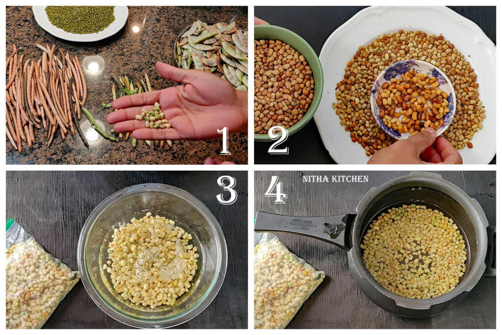 step by step no onion no garlic lobia cowpeas savory sundal recipe. How to pick and peel black-eyed peas