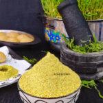 Ponnanganni Keerai Idli Podi and healthy homegrown microgreens at backdrop