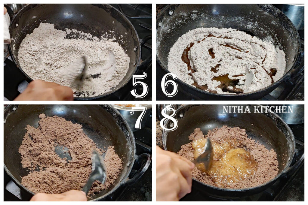 Step by step picture and video recipe for ragi burfi sugar consistency for burfi