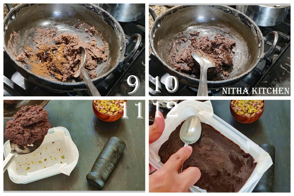 Step by step picture and video recipe for crispy perfect ragi chocolate burfi sugar consistency for burfi
