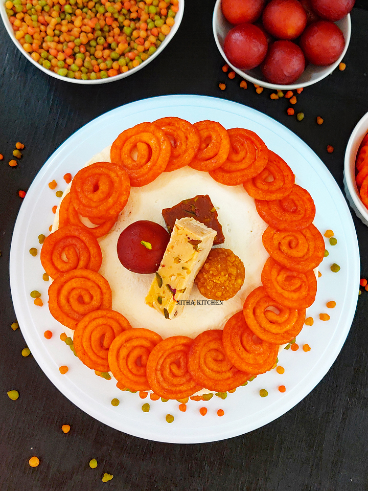 Diwali theme Eggless Tres Leches with Mascarpone Cheese Frosting Video Recipe