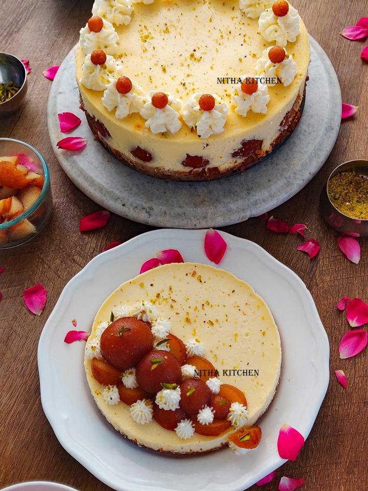 Rose Cardamom Cheesecake Gulab Jamun Cheesecake Video Recipe Fusion Jamun Cheesecake Instant Pot Gulab Jamun Cheesecake Cardamom Rose Cheesecake
