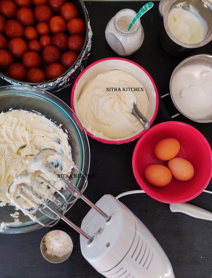 step by step preparation of gulkand rose gulab jamun cheesecake recipe