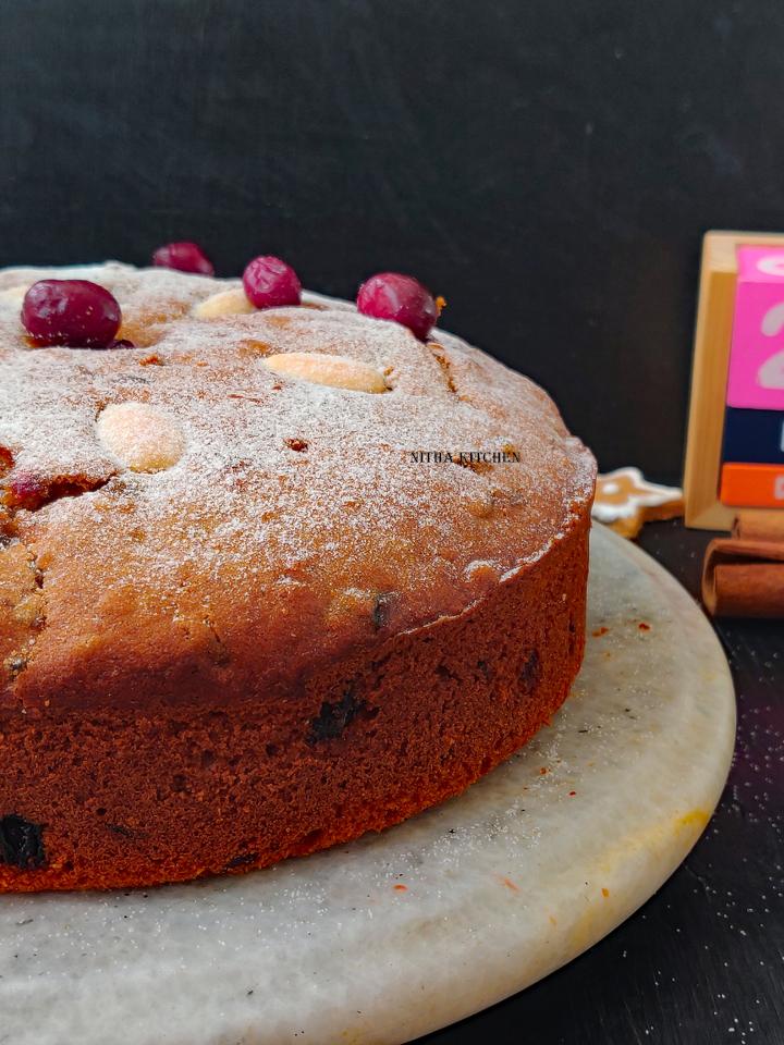 Alcohol Free Christmas Plum Cake No Soak Fruit Cake , Christmas plum cake, no alcohol fruit cake recipe, Christmas fruit cake, fruit cake recipe, alcohol free fruit cake, no soak fruit cake , Nitha Kitchen