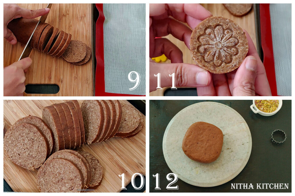 Step by Step pictures of making Soft and Crispy (both versions) Eggless Rose Cardamom Cookies Using Whole Grain Wheat Flour Video Recipe