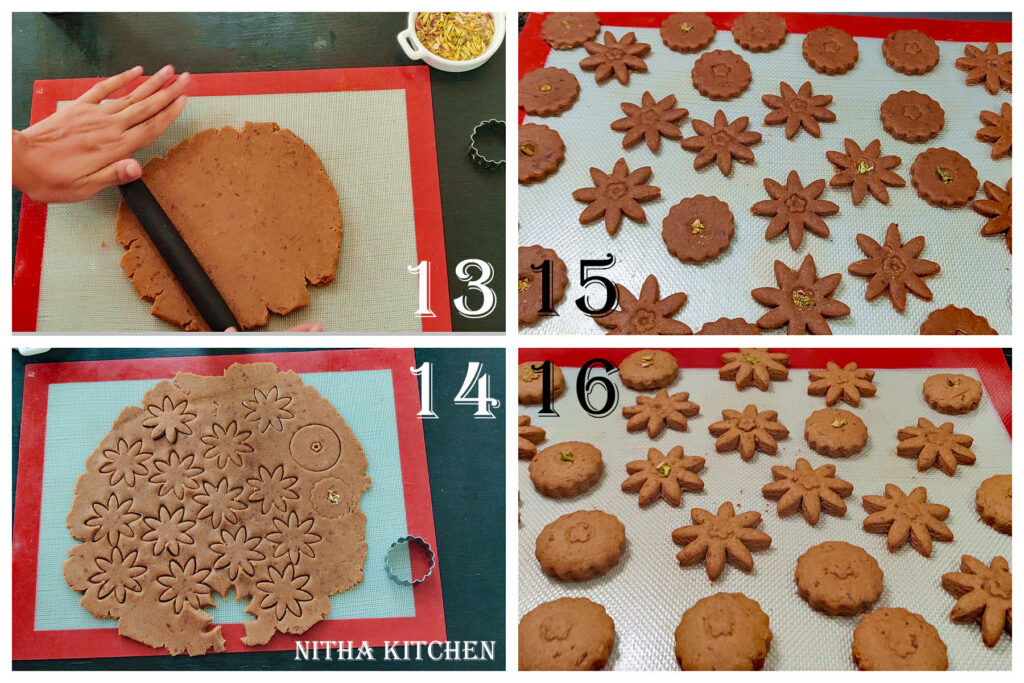 Step by Step pictures of making Soft Eggless Rose Cardamom Cookies Using Whole Grain Wheat Flour Video Recipe