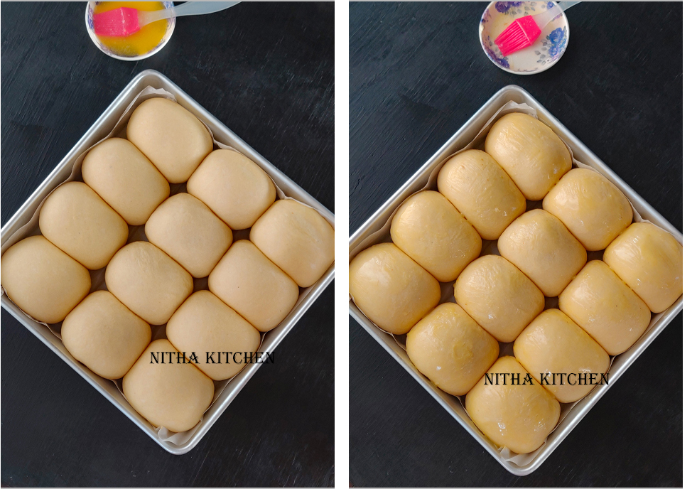 Eggless Ladi Pav Recipe Before and After Brushing with melted butter