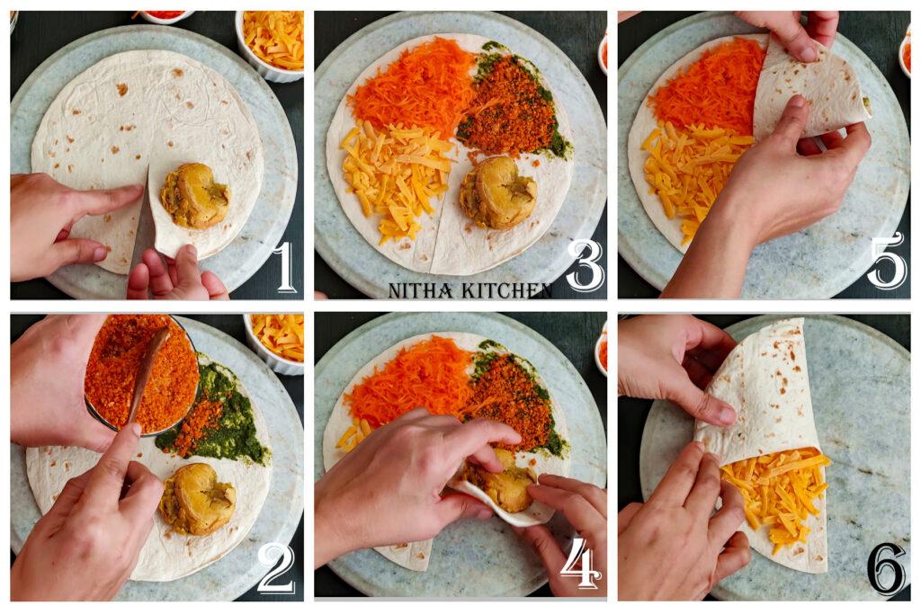 Tortilla Wrap Hack . Tortilla Folding Hack recipe ideas with Indian Twist