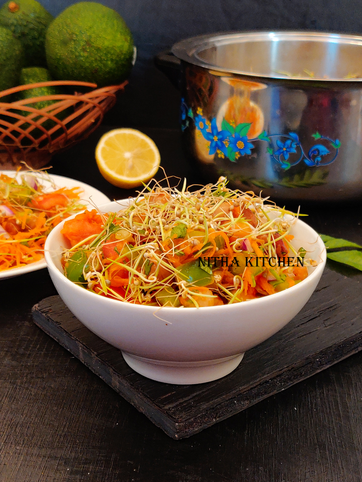 pearl millet sprouts salad video recipe , homegrown millet sprouts, sprouting millets, how to sprout millets, what millet sprouts easily, millet sprouts salad recipe, millet sprouts veg salad recipe, raw salad recipe