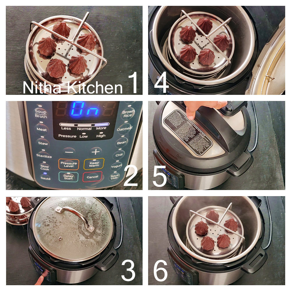 how to steam kozhukattai in Instant Pot , how to use steamer option in instant pot gourmet duo, how to set vent mode in instant pot, how to set steam mode in instant pot, how to set manual timer in instant pot gourmet, how to make kozhukattai in instant pot, millet kozhukattai instant pot, ragi kolukatai instant pot, ragi modaks instant pot