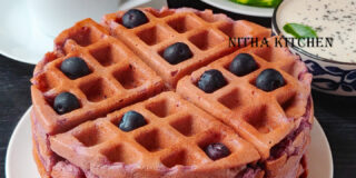 eggless blueberry savory waffles video recipe